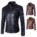 2016 Весна Осень Новый Европейский и Американский мужской моды случайные PU кожаный мотоцикл стоять воротник прилива кожаная куртка пальто