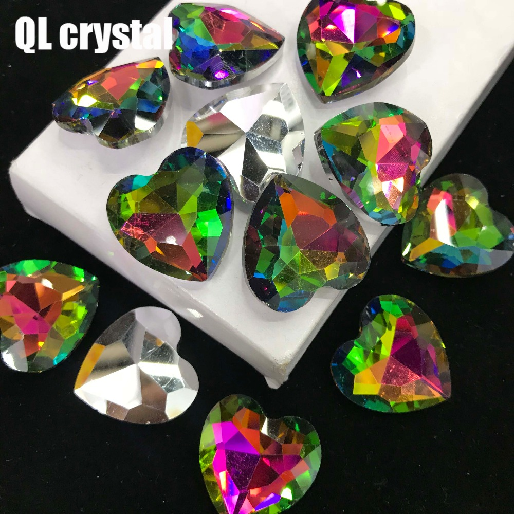 QL Crystal ALL SIZE Heart Pointback Crystal Rhinestone High Quality for Jewelry Making DIY Accessories in Rhinestones from Home Garden