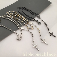 Goofan 6MM Stainless Steel Bead Chain Jesus Christ Cross Pendant Rosary Necklace Mens Womens Unisex Jewelry