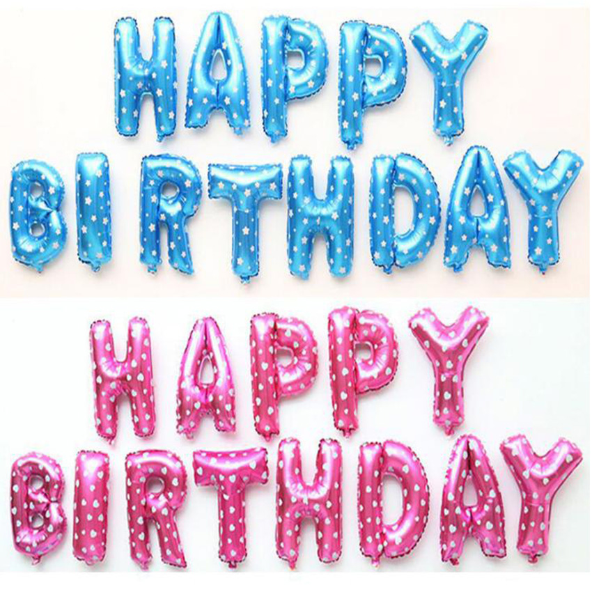16inch Happy Birthday balloons Party Decoration Letters Alphabet Aluminum Helium balloon Foil Baloon Baby kids air Balloons