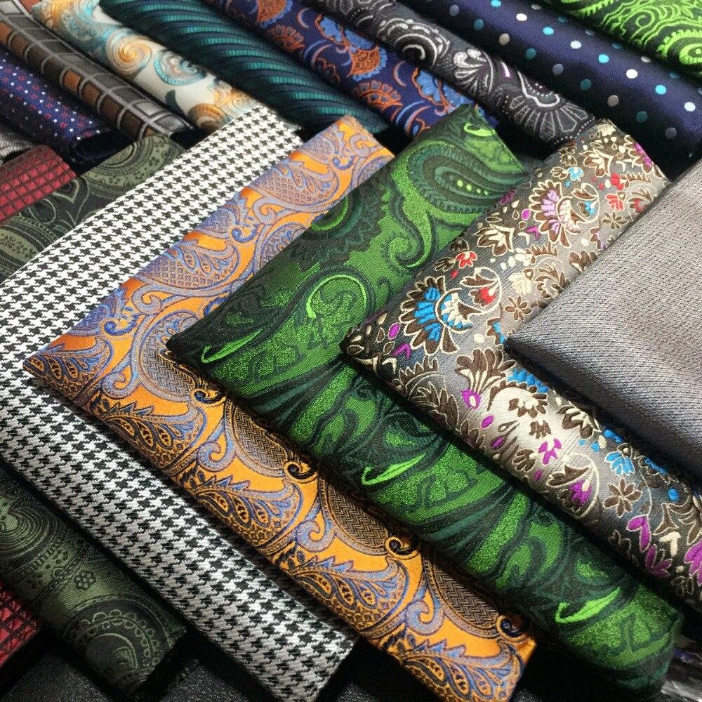 Paisley Solid Dots Mens Pocket Square Multicolor Silk Handkerchief Hanky
