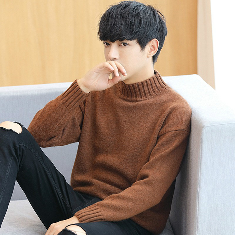 Autumn Fashion Boys Sweaters Korean Sweater Plus Size Turtleneck Men Ribbed Top Long Sleeve Thick Pullover Male Cute Knitwear