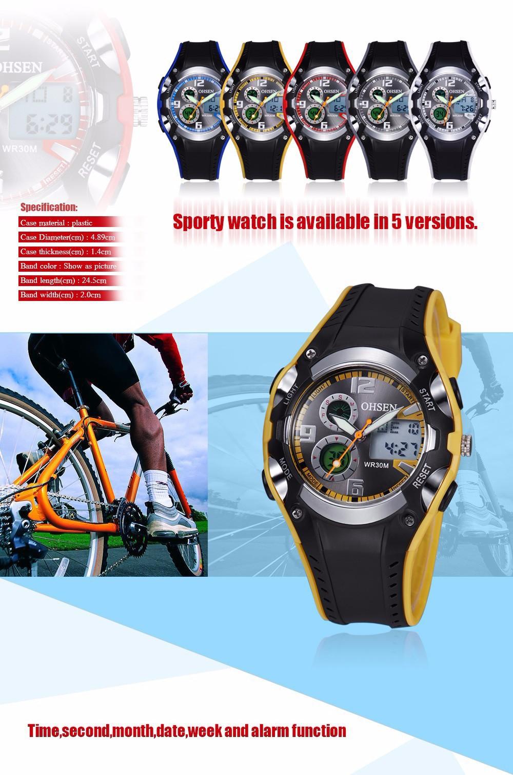 Original Ohsen Brand Fashion Sports Men's Watches 30M Waterproof Rubber Black Rubber Band Digital Sport Wristwatch for Men Gift (16)
