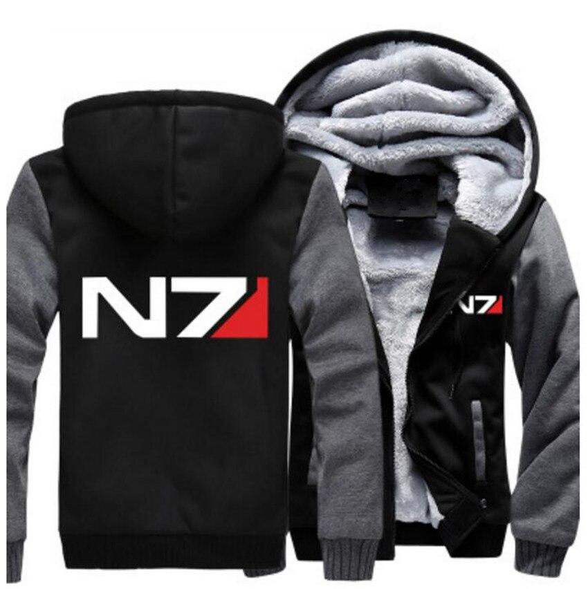 Free Shipping USA size Men Women Mass Effect N7 Thicken Hoodie Zipper Coat Clothing Jacket