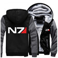 Free Shipping USA size Men Women Mass Effect N7 Thicken Hoodie Zipper Coat Clothing Jacket