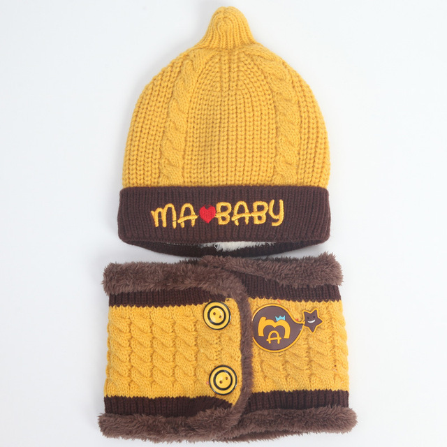 32423e954b2 2pcs lot Baby Winter Hat + Scarf Baby Winter Cap Children Warm Scarf For  Boys Suit Beanie Hats Scarfs For Girl Boy