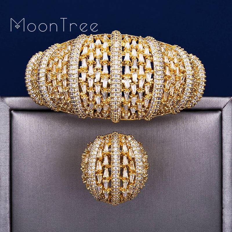 ModemAnge Fashion Luxury Super Copper Boom Flowers AAA Cubic Zirconia Party Engagement Width Bracelet Bangle Ring