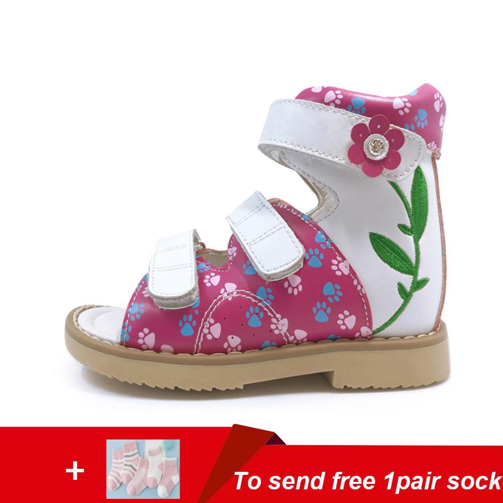 Dernière conception bébé en cuir raide marche chaussures orthopédiques enfants filles robe brodée sandale enfants floral chaussures à pied plat