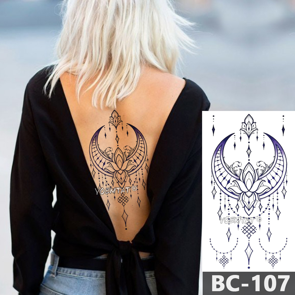 1 Sheet Chest Body Tattoo Temporary Waterproof Jewelry Lace Totem Lotus Mandala tatto Decal Waist Art Tatoo Sticker Women 3