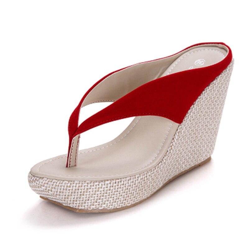Женские домашние сандалии модные босоножки-вьетнамки на платформе Босоножки на танкетке пляжные шлепанцы на высоком каблуке размера плюс; большие размеры 33-41 - Цвет: red