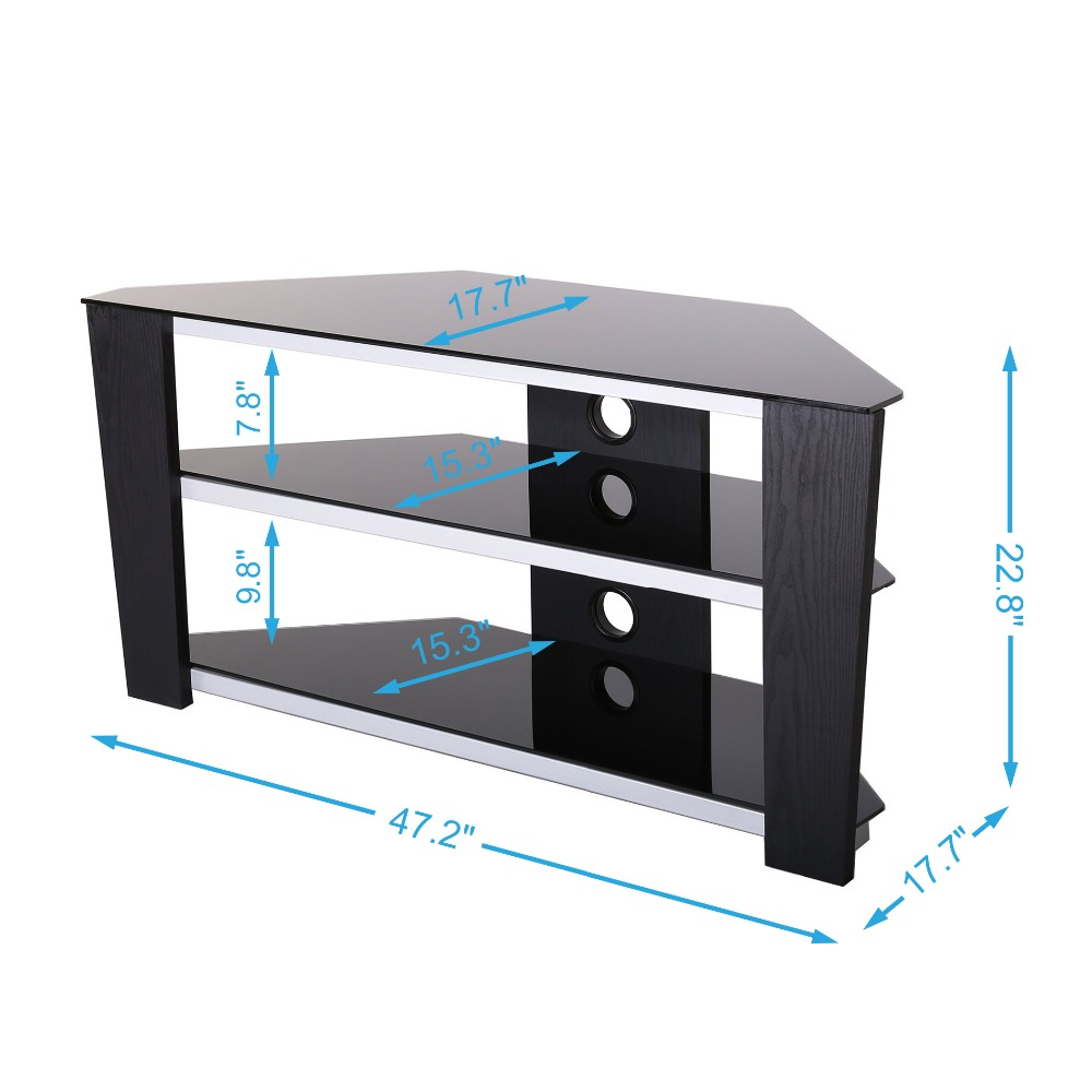 fitueyes tv stand with glass and wood corner for inch led lcd plasma