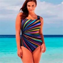 European and American Women's Swimsuit Large Size Fat Woman Striped Print Plus Fat One-piece Bikini