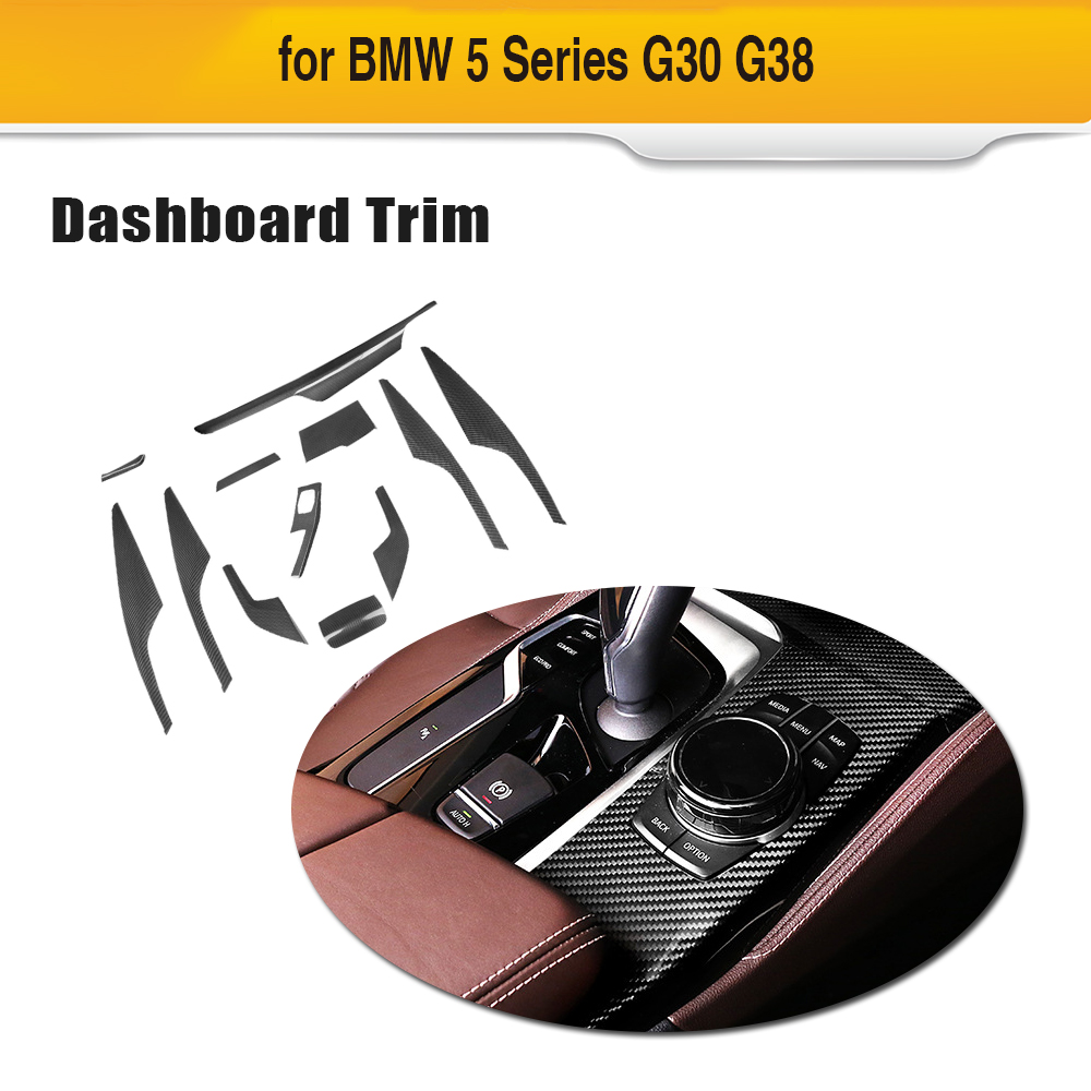 Carbon Fiber Car Interior trim cover Central Control Panel Dashboard Decal Car Styling Trim for BMW 5 series G30 G38 17 19 12pcs