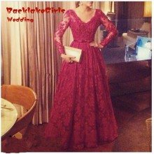New Fashion A-line V-Neck Long Sleeve Evening Dress 2017 Custom Made Red Lace Muslim Evening Dresses Long Dubai Robe De Soiree