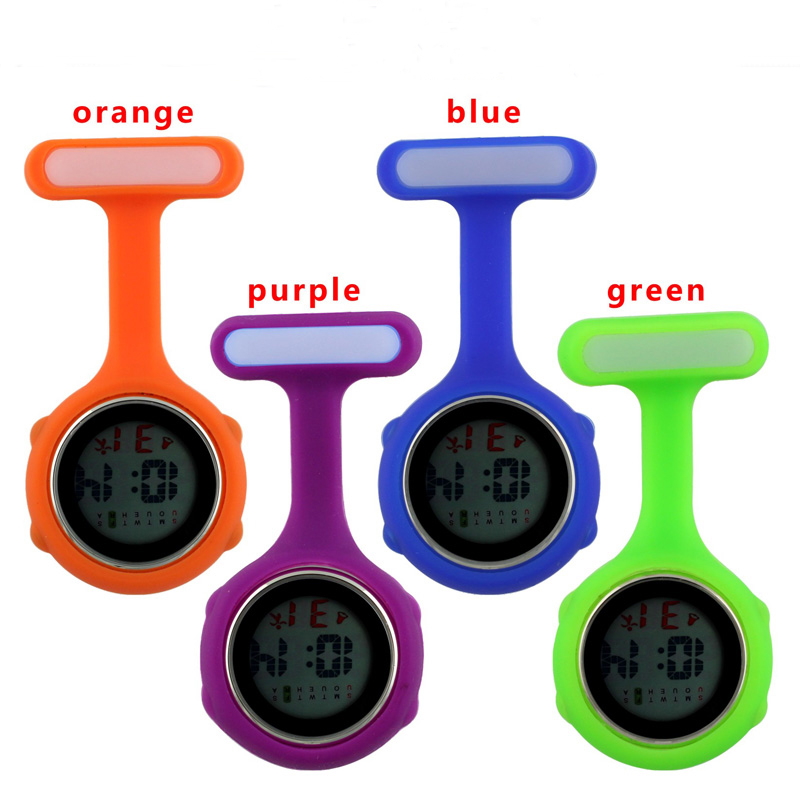 Digital Silicone Nurse Stop Pocket Watch fob Timepiece Brooch Lapel Brand Date Week Clock Electronic Camping