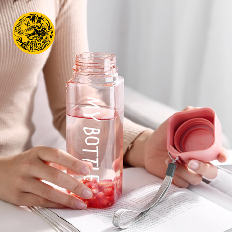 New Water Bottles 500ml Plastic My bottle for water with Rope Frosted Square drink bottle Sport Korean style Heat resistant Multan
