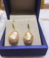 Бесплатная доставка Очаровательная пара 14 16 ММ ЮЖНОГО МОРЯ золото розовый жемчуг серьги