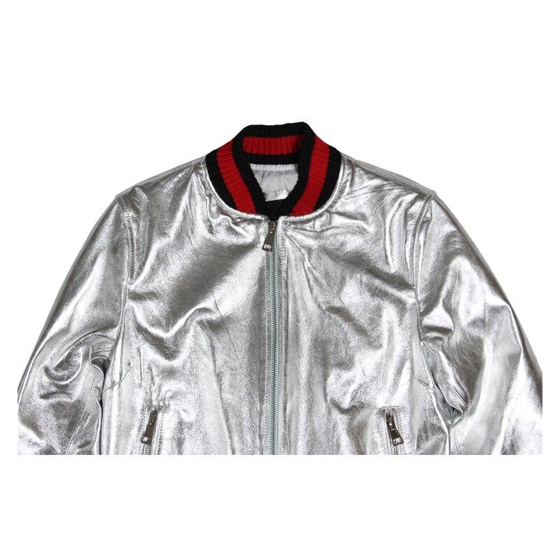 Fábrica de astilla de oro Cuero auténtico chaqueta de cuero de las ...