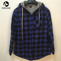 Fashion Men Women Hoodies Cotton Autumn Winter Coat Long Sleeve Plaid Cotton Hoodies Casual Button Hooded