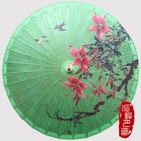Chinese Green Grass Birds Sunshade Parasols Umbrella Women Kids Traditional Dance Parasol Japanese Props Paraguas