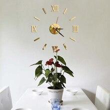 Modern DECO Indoor Roman Wall Clock Wall 3D Sticker Home Mirror Effect 4 3D Style