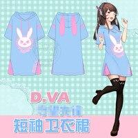 Summer Harajuku Women Casual Hooded Dress D.VA Cosplay Rabbit Ears Hoodie Sweatshirt Long Hoodies Dress Beach Short Mini Dress