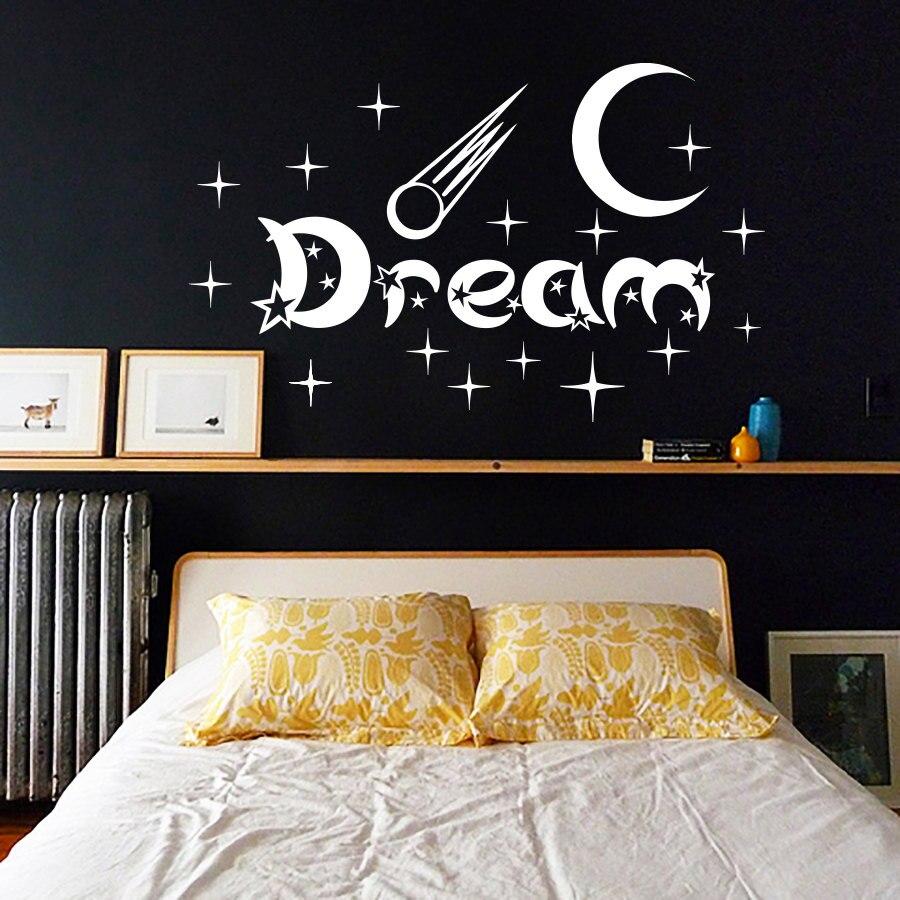 baru desain kamar tidur stiker dinding bulan dan bintang home decor