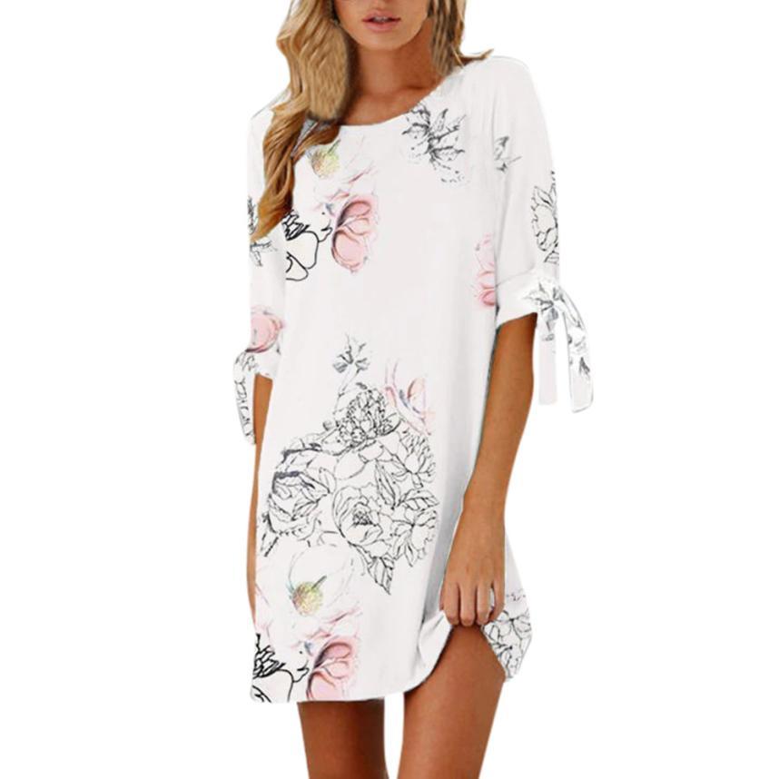 Feitong 2018 Women Summer Half Sleeve Lace Up Bandage Floral Striaght Casual Short Mini Dress Loose Casual Vestidos femininos