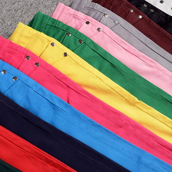 Women's plus size candy multicolour capris jeans female spring and summer pencil skinny pants