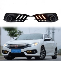 2pcs Set DRL LED Daytime Running Light Fog Lamp With Turn Signal Fit For Honda CIVIC