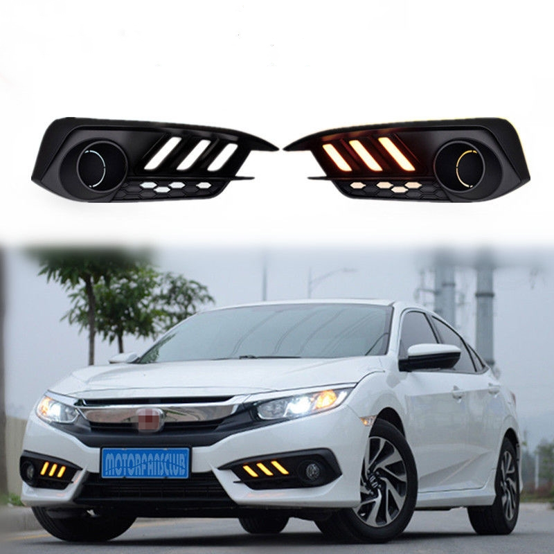 2pcs/set DRL LED Daytime Running Light Fog Lamp With Turn Signal Fit for Honda CIVIC 2016 2017 Car Styling Accessories Decorate novsight 2pcs set auto car led drl daytime running light turn singal fog lamp white yellow for honda fit 14 16 free shipping