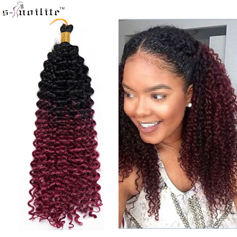 SNOILITE 14 Brazilian Crochet Braiding Hair Extensions Synthetic Kanekalon Hairpiece Bulk Curly Ombre Black To Wine Red ...