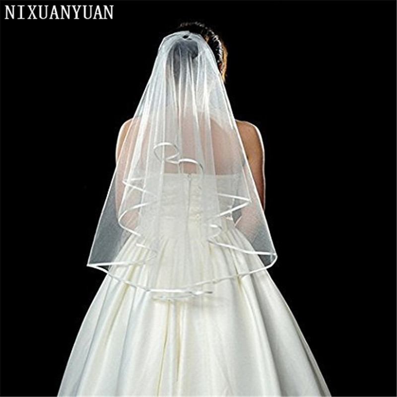 NIXUANYUAN 2020 White Double Ribbon Edge Center Cascade Bridal Wedding Veil With Comb