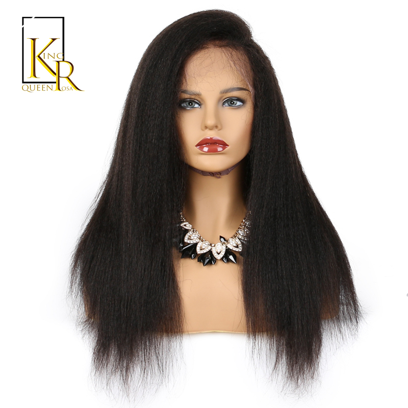 360 Lace Frontal Kinky Straight Wig Front Plucked With Baby Hair Remy Brazilian Human Hair Wigs