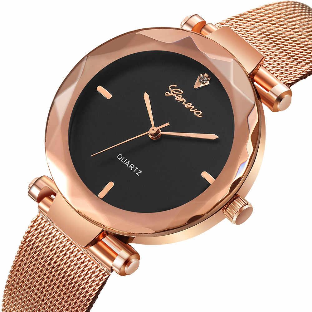 Relojes de lujo para mujer de acero inoxidable Geneva, relojes analógicos de cuarzo para mujer