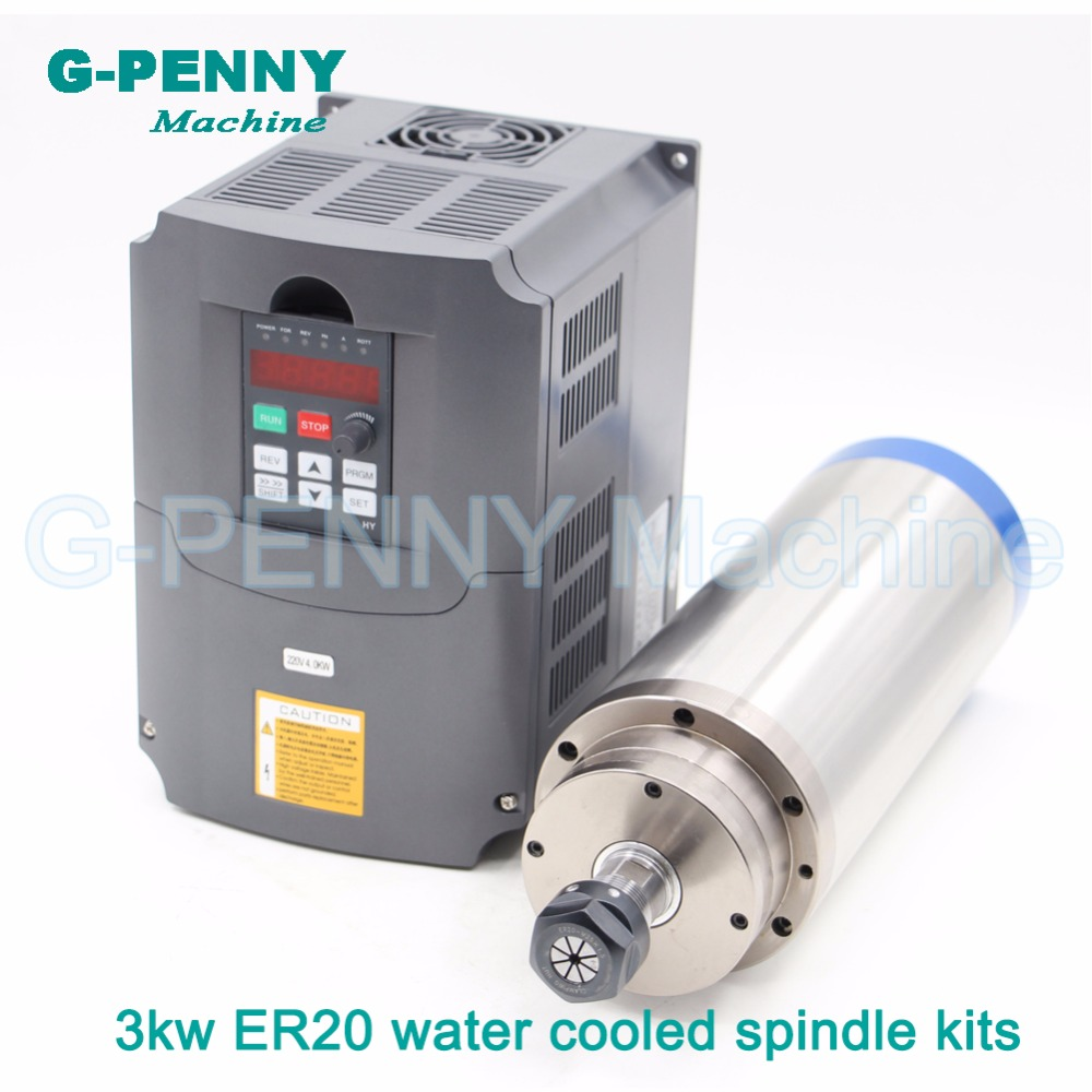 Sale ! 220V 3.0kw CNC Water Cooled Spindle Motor ER20 water cooling & 4kw VFD / Variable Frequency spindle speed controller !|spindle motor er20|water cooled spindle motor|spindle motor - title=