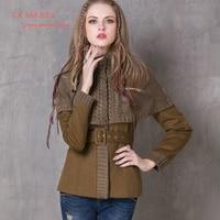 Winter Women Coat 2017 La MaxPa Vintage New Wool Coats Long Sleeve Knitting Patchwork Belted Bodycon