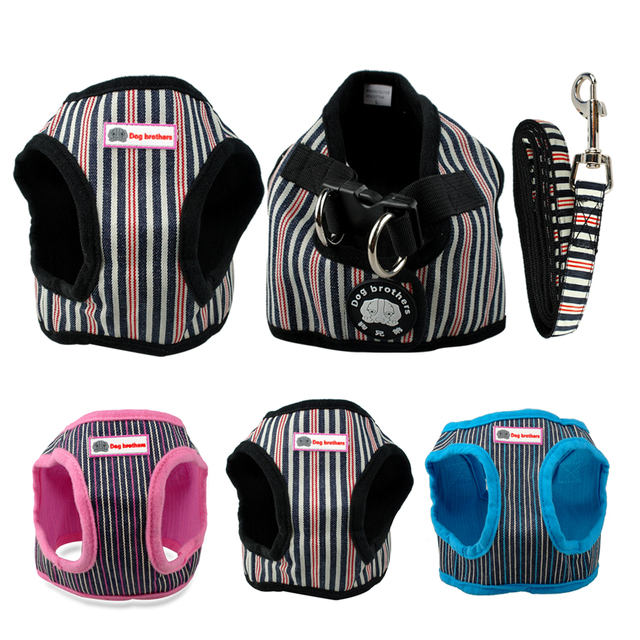 Cute Soft Puppy Small Dog Harness and Walking Leash Leads Set 4 Sizes 6 Colors S M L XL