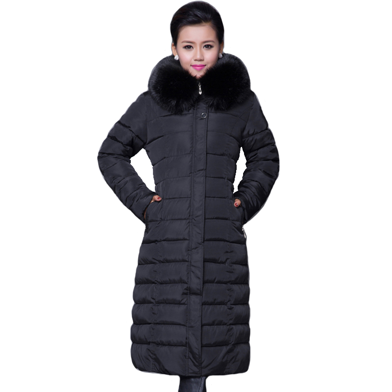 2019 High Quality Winter Jacket Women X-long Fur Collar Hooded Womens Coat Padded Warm Thicken Snow Wear Female Parka Parkas