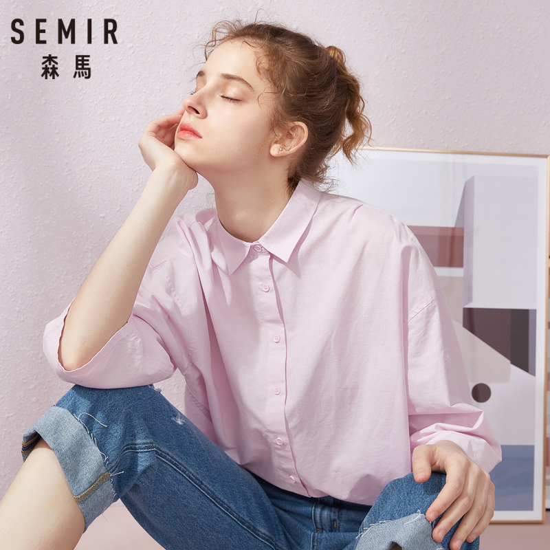 SEMIR Women Half-length Sleeve Blouse With Collar Women Cotton Shirt Regular Fit With Tapered Waist For Spring Autumn