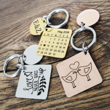 Cute Stainless Steel Keychain Personalized Custom Calendar Key Chain Boyfriend Gift for Anniversary Birthday Key Ring 2019