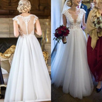 vestido De Noiva 2019 New Cap Sleeves Illusion Back Lace wedding gowns Sexy V Neck A Line Tulle Wedding Dress robe de mariee