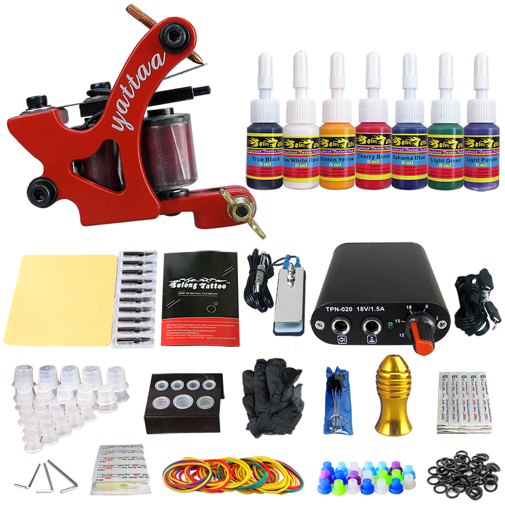 Hybrid Complete Tattoo Coil Machine Kit For Liner Shader Power Supply Foot Pedal Needles Grip Tips Tattoo Body&Art TK105-67 2017 pro complete tattoo machine kit set 2pcs coil tattoo machine gun power supply needles grips tips footswitch for body art