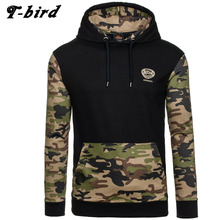 T-bird 2017 Men Hoodies Camouflage Hoodie Male Long Sleeve Hip Hop Hoodies Splicing Sweatshirt Mens Hoodie Slim pullover XXL