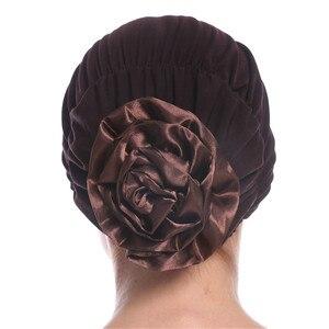 Image 1 - Haimeikang Cotton Women Muslim Stretch Turban Headband Women Flower Hair Bands Chemo Cap Head Wrap Hat Hair Accessories