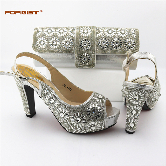 c3c3d3ae367e9 Silver New African Women Matching Italian Shoe and Bag Set Italian Shoe  with Matching Bag for Wedding Ladies Nigerian Shoe Bag-in Women's Pumps  from Shoes ...