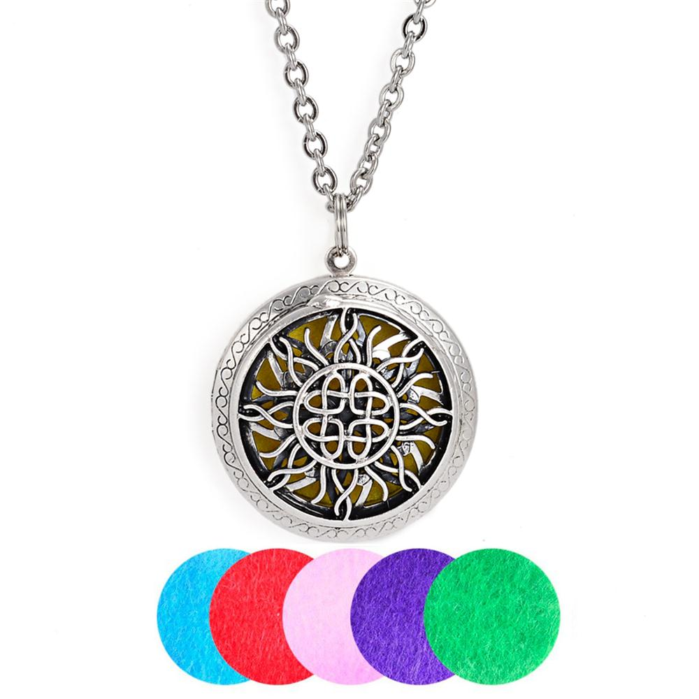 5Pcs Sun Flower Antique Silver Felt Pads Essential Oil Diffuser Necklaces For Women Gift