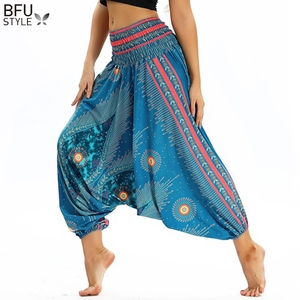 Image 5 - Phụ nữ Mềm Loose Thái Hậu Cung Quần Indie Dân Gian Boho Lễ Hội Hippy Quần Tây Giản Dị Lỏng Đàn Hồi Eo Phong Cách Quốc Gia Quần
