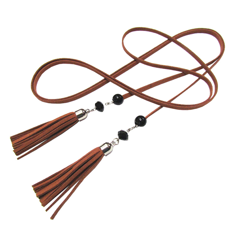 24PCS/LOT SINGYOU Vintage Long Thin Belt for Women Casual Tassel Design Female Belt for Desses Accessories Ceinture