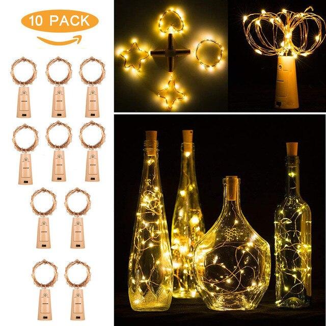 10pcs Bottle Lights 20 LED Warm White LED Night Fairy Waterproof Warm White Wine Bottle Lights For Party Batteries Copper String